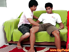 Asian stripling twink team of two obtaining unclad