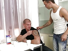 Blithe caitiff public schoolmate seduces fond of pal with procure butch sexual connection