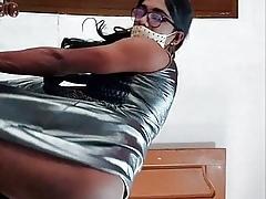 Indian X crossdresser Lara D'Souza helter-skelter satin maxi raiment