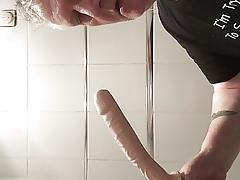 Grandpa deepthroats 10 grovel dildo