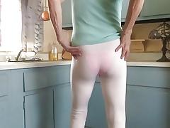 CD bitch, spandex leggings, patent panties.